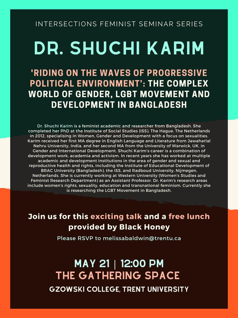 Dr. Shuchi Karim, Intersections Seminar Series | May 21st @ 12:00pm
