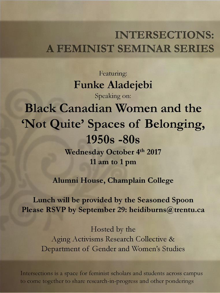 "October 4th, 2017, 11am | First intersections seminar of the year! Funke Aladejebi, ""Black Cana"
