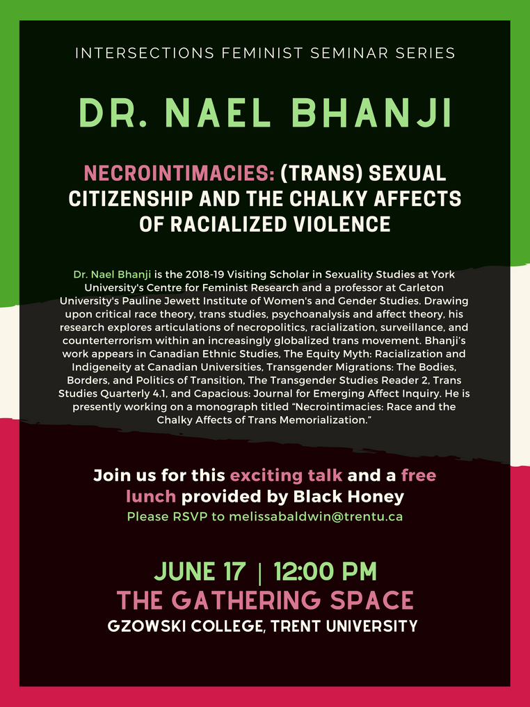 Dr. Nael Bhanji, Intersections Seminar Series | June 17th @ 12:00pm