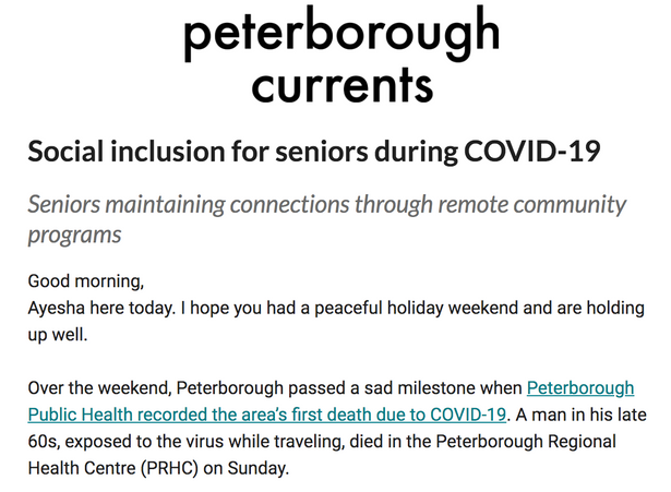 Our Co-creating during Covid project in a Peterborough Currents piece on elders connecting during Qu