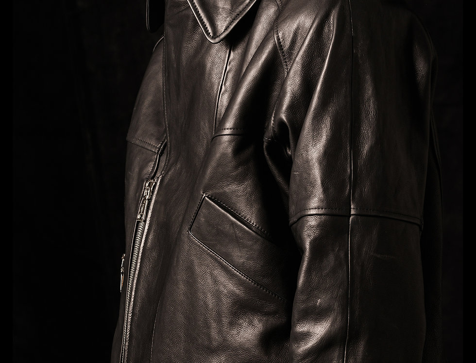 double collars leather jacket