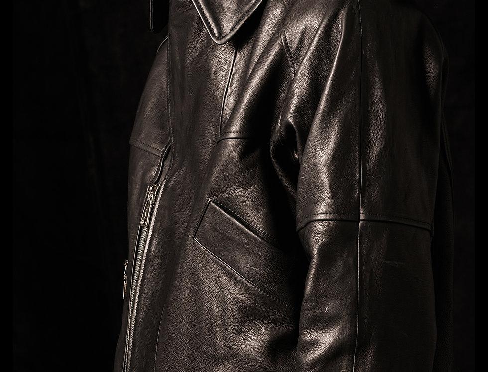 double collars leather jacket