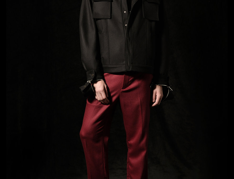 regular fit pants red