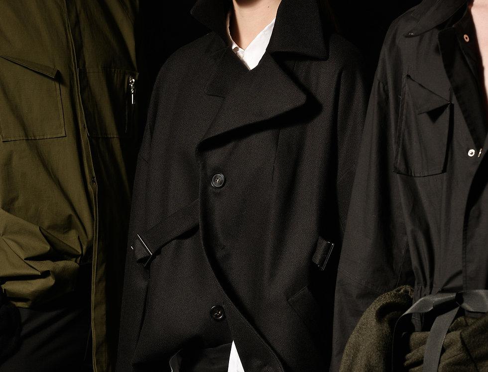 one-side belt coat