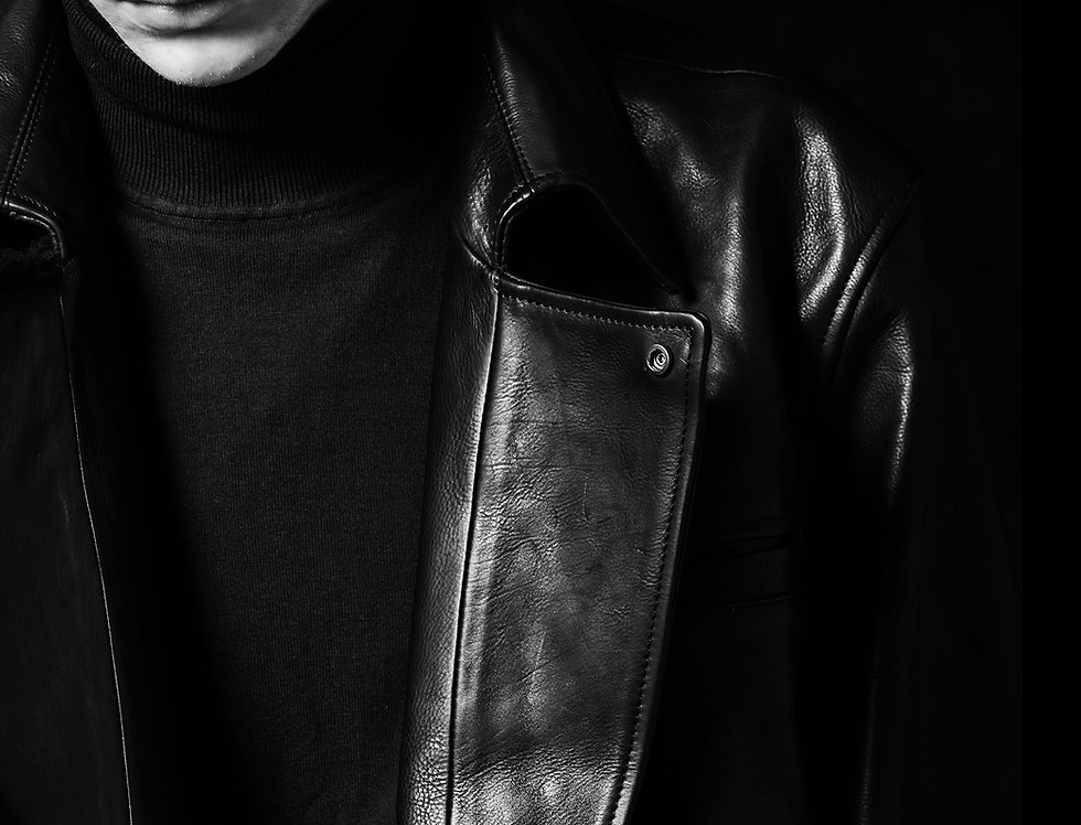 hidden fur leather coat