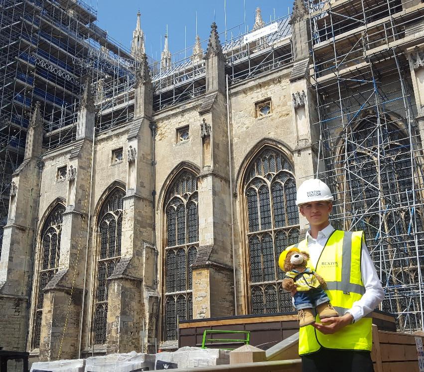 External view of renovations at Canterbury Cathedral.