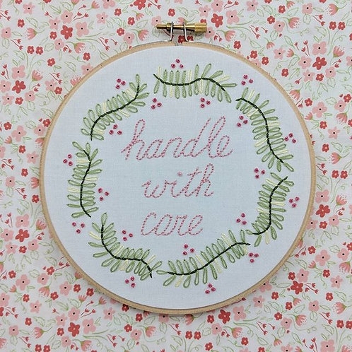 Handle with Care - Pink on White - 6""