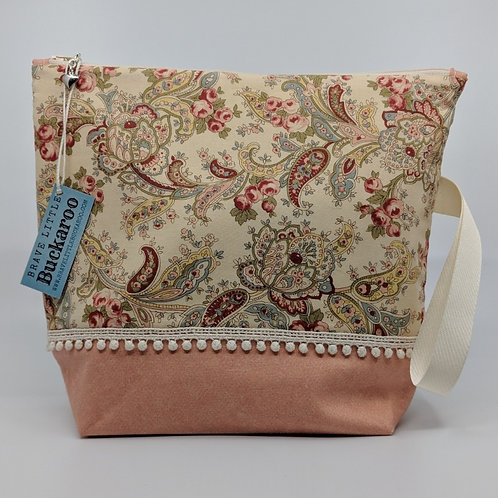 Project Bag - Cream Paisley with Pompoms and Wrist Strap
