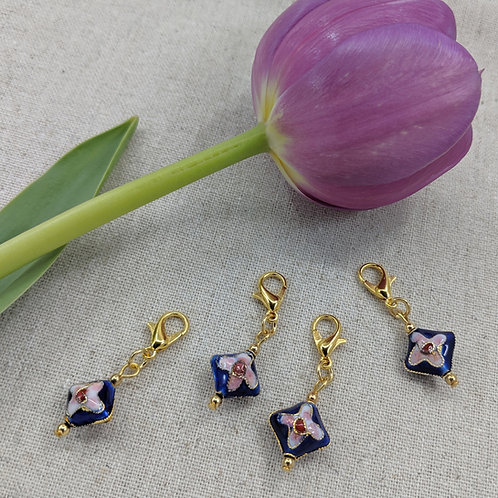 Charms/Progress Keepers - Blue Cloisonné Diamonds