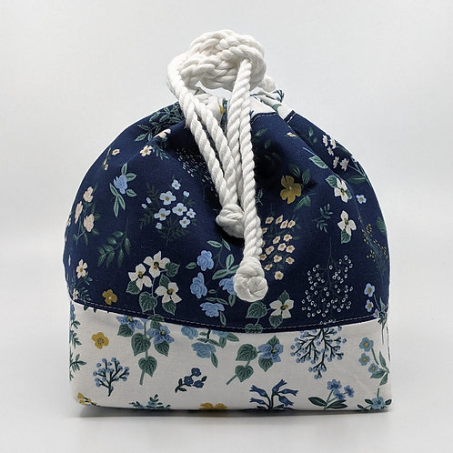 Classic Drawstring Pouch - Blue and White Floral