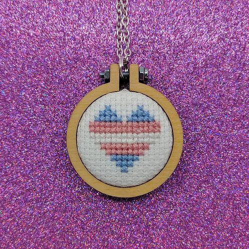 Pride Heart Flag Necklace - Trans Pride