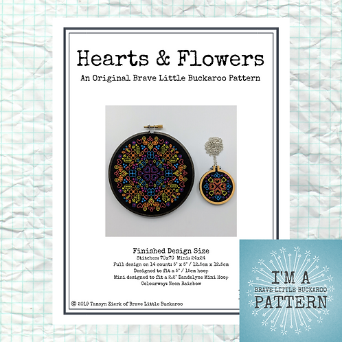 Hearts & Flowers Hoop + Mini - Neon Rainbow Colourway - DIY Pattern