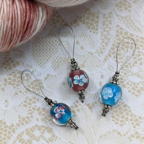 Blue and Pink Floral Lampwork Stitch Markers - Set of 3