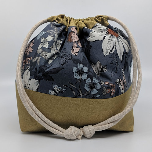 Classic Drawstring Pouch - Grey Floral with Gold