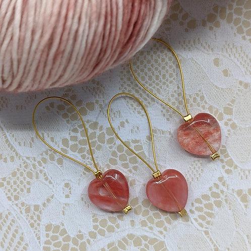 Cherry Quartz Heart Stitch Markers - Set of 3