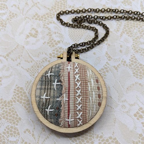 Fabric Collage Mini Hoop Necklace #1