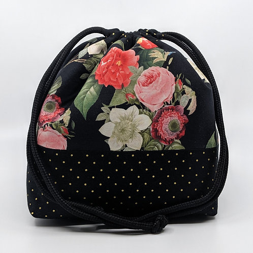 Classic Drawstring Pouch - Night Blossom with Gold Spots