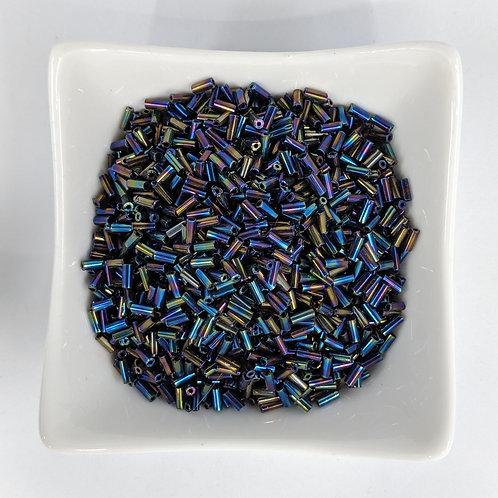 Bugle Beads - Dark Opaque Blue Iris - 4-5mm - 50g