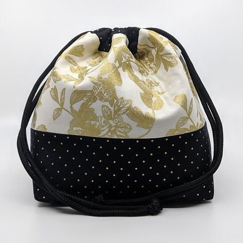 Classic Drawstring Pouch - Night Blossom in Gold with Spots