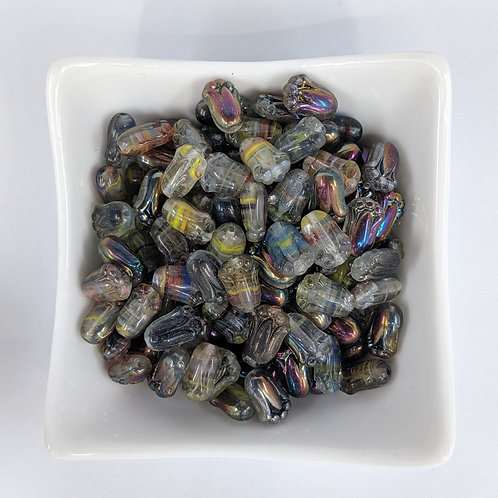 Bead Mix 14 - Tulip Shaped Pressed Glass Beads - 25pcs