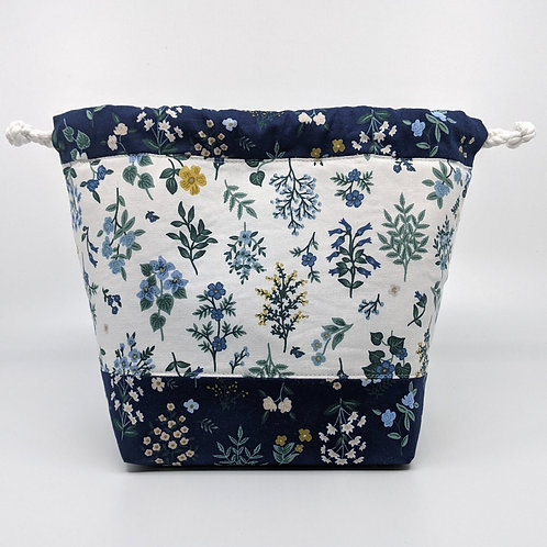 Classic Drawstring Pouch - White and Blue Floral