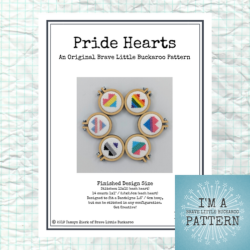 Pride Heart Minis Cross Stitch - DIY PDF Pattern