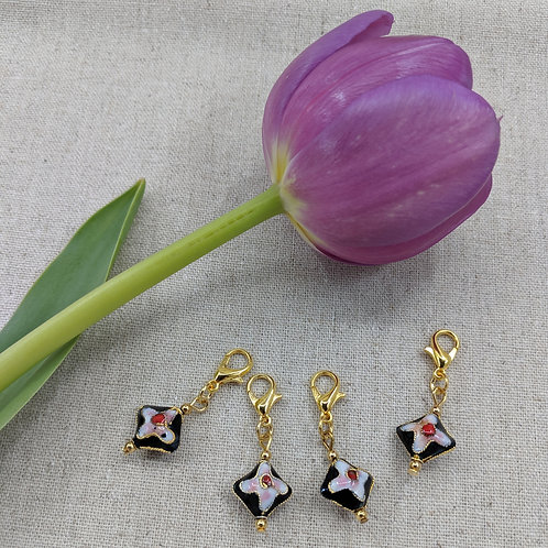 Charms/Progress Keepers - Black Cloisonné Diamonds