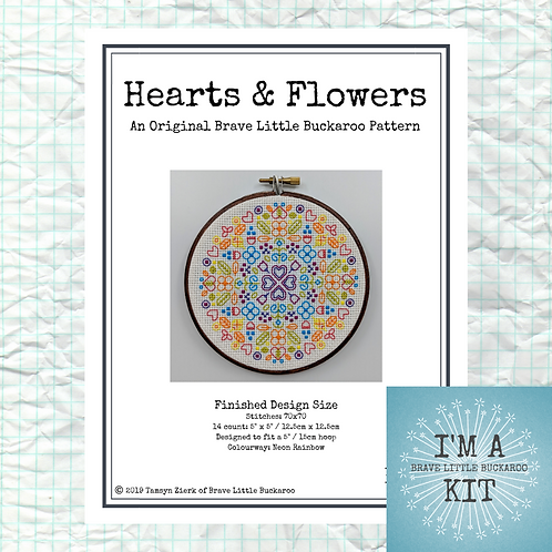Hearts & Flowers - Neon Rainbow Colourway on White - DIY KIT