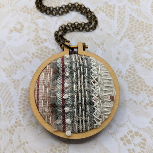 Fabric Collage Mini Hoop Necklace #3