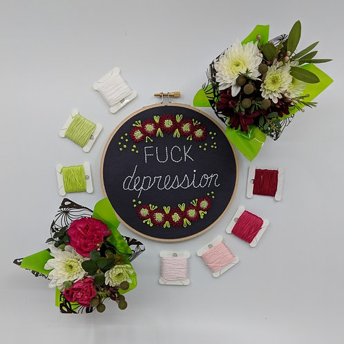 """Fuck Depression - 6"""" Hoop - Ready to Ship"""