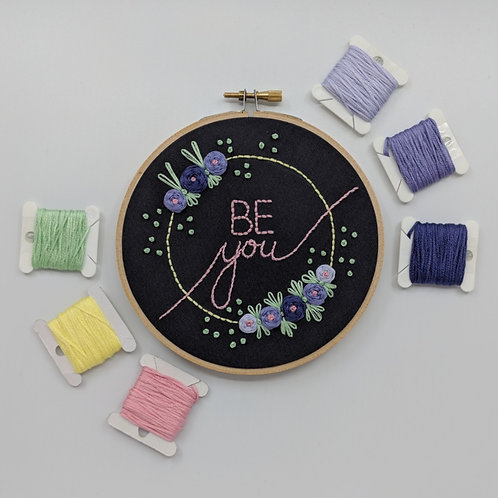 MADE TO ORDER - Be You - Purple on Grey - 5""