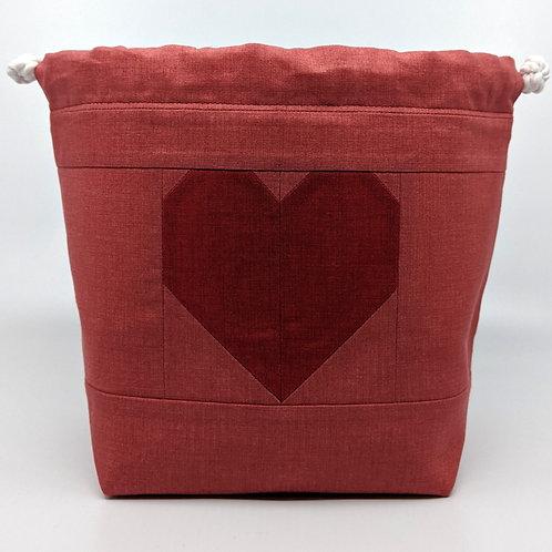 Classic Drawstring Pouch - Dark Raspberry Heart on Light Background