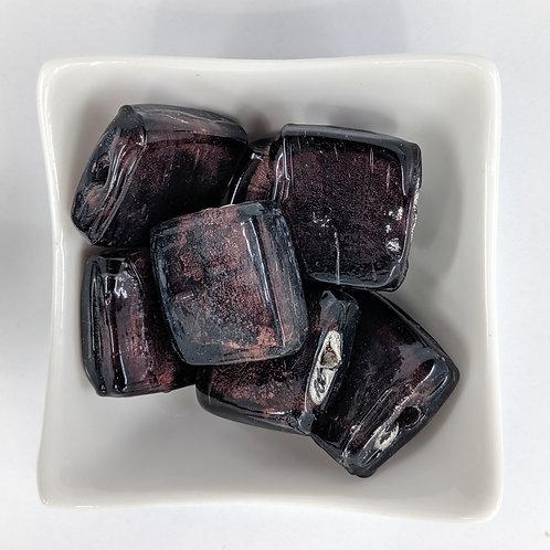 Large Purple Foil Glass Squares - 5pcs