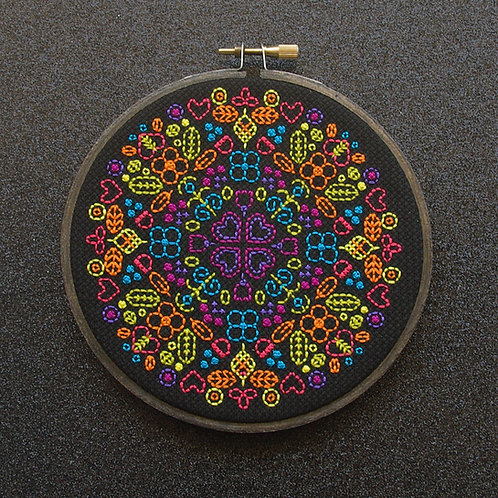 "Hearts and Flowers - Neon Rainbow on Black - 12.5cm (5"")"