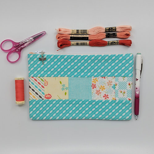 Pencil Case - Teal with Floral Patchwork