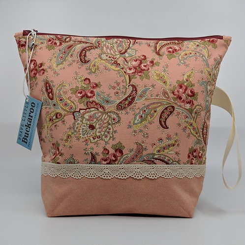 Project Bag -Pink Paisley with Lace and Wrist Strap