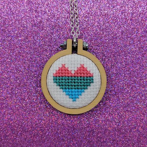Pride Heart Flag Necklace - Polysexual Pride