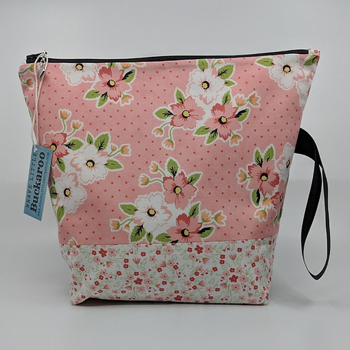 Project Bag -Spotty Floral Pink on White with Wrist Strap