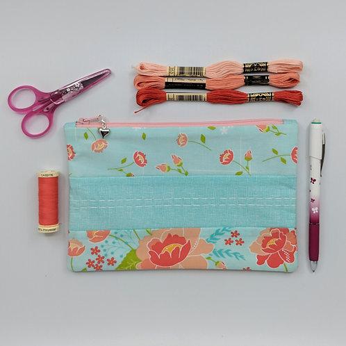 Pencil Case - Teal Floral Stripe