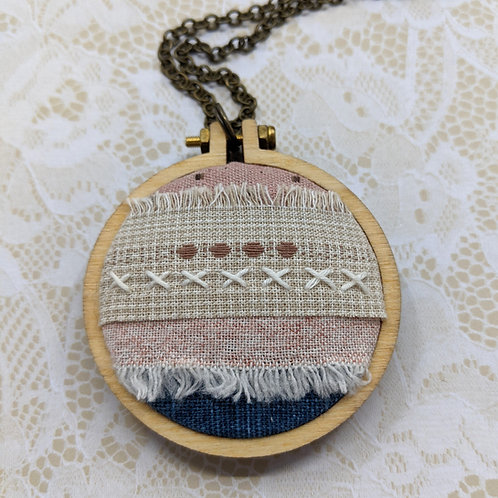 Fabric Collage Mini Hoop Necklace #5