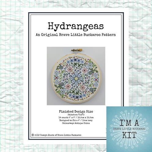 Hydrangeas - Antique China Colourway on White - DIY KIT