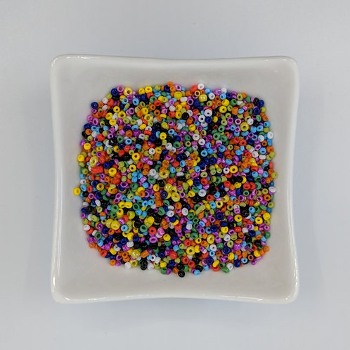 Bead Mix 10 - #11 Seed Beads - Opaque Multi-coloured - 50g