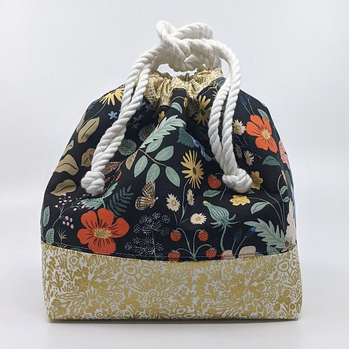 Classic Drawstring Pouch - Black Floral with Gold