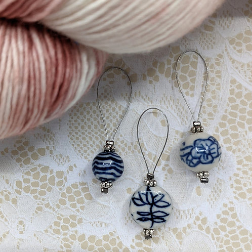 Blue and White Porcelain Stitch Markers - Set of 3