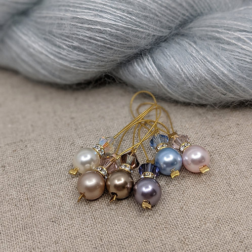 Swarovski Crystal and Pearl Stitch Markers - Set of 6