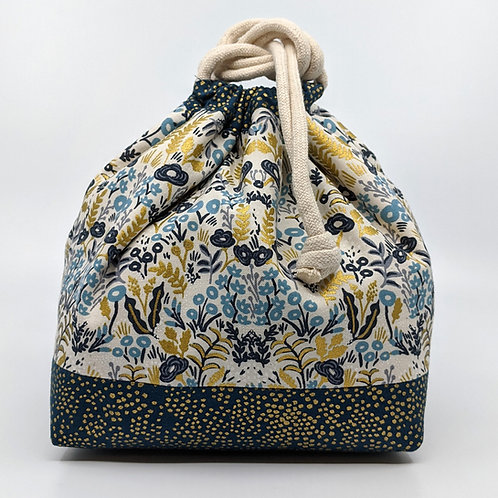 Classic Drawstring Pouch - Menagerie Blue and Gold