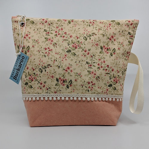 Project Bag - Cream Miniature Roses with Pompoms and Wrist Strap