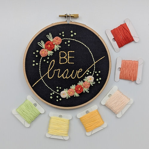 """MADE TO ORDER - Be Brave - Peach on Grey - 5"""""""