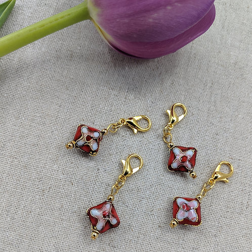 Charms/Progress Keepers - Red Cloisonné Diamonds