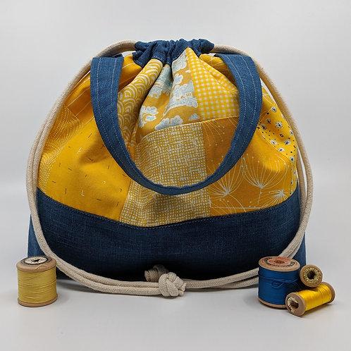 Handy Drawstring Bucket Bag - Yellow and Blue
